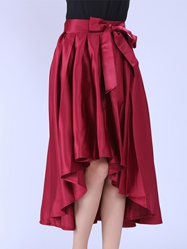 Red Asymmetric Hem Pleated Skirt