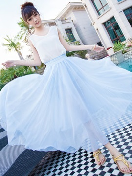 Dazzling Solid Color Long Skirt