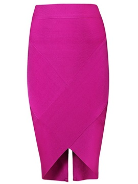 Plain Slit and Zipper Designed Bodycon Skirt