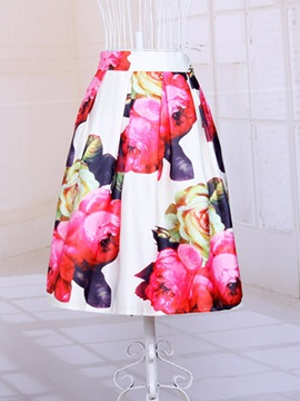 Vintage Flower-Print High-Waist Skirt