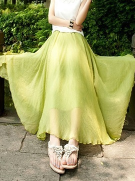 New Chiffon Plain Floor-Length Expansion Skirt