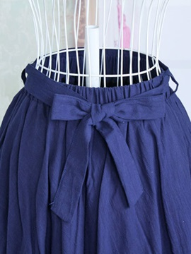 Solid Color Cotton Expansion Lace-Up Skirt