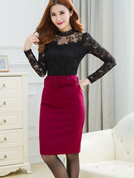 Plain Belt Standard Waist Mini Skirt
