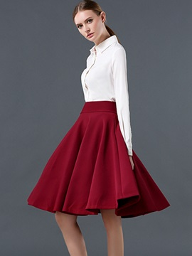 Solid Empire Waist Expansion Knee-Length Skirt