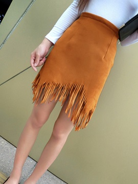 Asymmetric Tassel Solid Color Mini Skirt