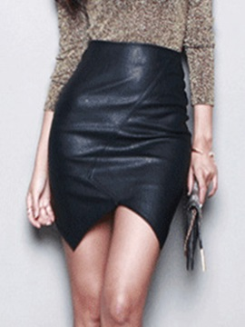 Asymmetric Empire Waist Slit PU Skirt