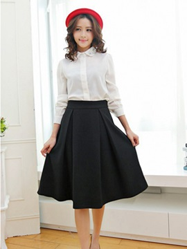 Vintage Empire Waist Pleated Knee-Length Skirt