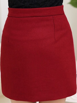 Solid Color Slit Mini Skirt with Buttons