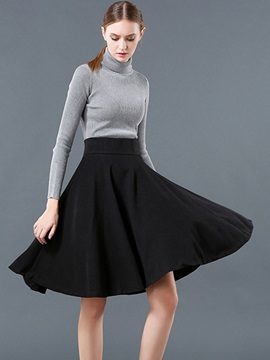 Plain Empire Waist Pleated Slim Skirt