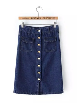 Denim Mid-Waist Buttons Skirt with Pocket