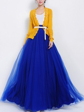 Solid Floor-Length Skirt with Bowknot