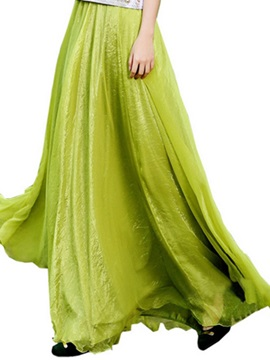 Solid Color Expansion Floor-Length Skirt