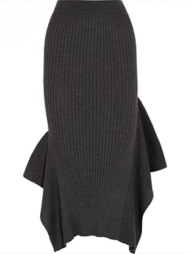 Asymmetric Solid Color Ankle-Length Skirt