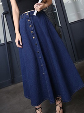 Chic Denim Mid-Calf Skirt with Pocket