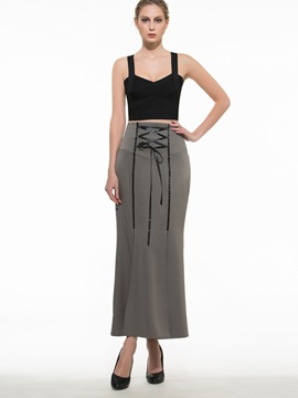 High Waisted Gray Lace-Up Women's Skirts