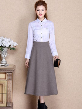 Chic Solid Color Mid-Calf Skirt