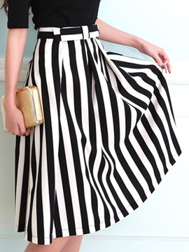 Stripe Pleated Belt Mid-Calf Skirt