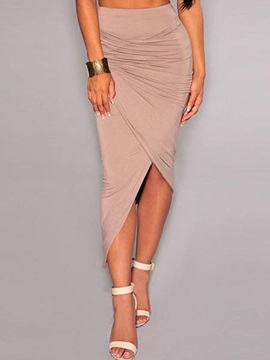 Asymmetric Solid Color Ruffled Skirt