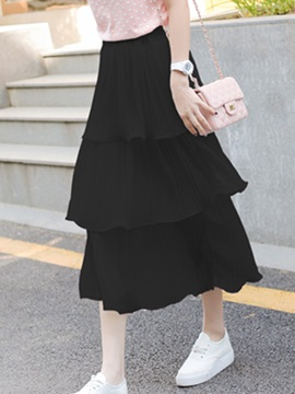 Solid Color Layered Slim Skirt