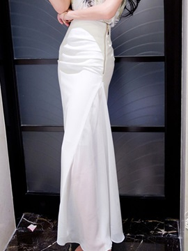 Plain Patchwork Floor-Length Skirt