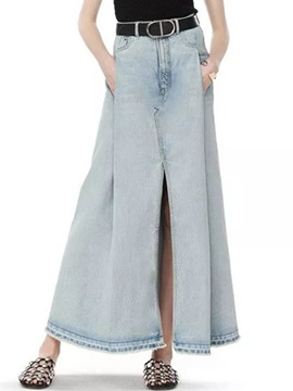 Placketing Patchwork Long Denim Skirt