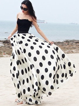 Polka Dots Printed Maxi Long Skirt