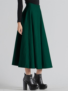 Pleated Solid Color Winter A-Line Long Skirt