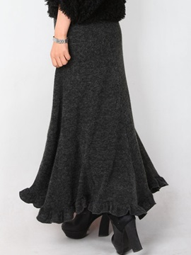 Gray Falbala Pleated Winter Maxi Long Skirt