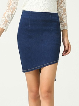 Dark Blue Denim Asymmetric Women Skirt