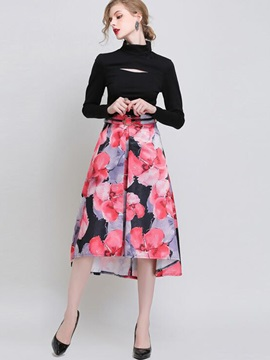 Floral Printing Belt Pleated Skirt
