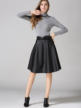 Bowknot Solid Color Leather Vintage Skirt