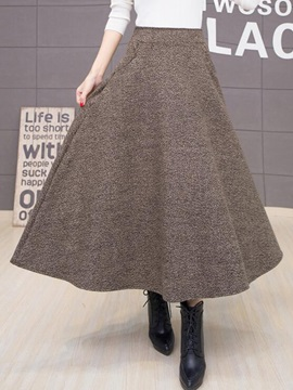 Retro Solid Color Winter  Skirt