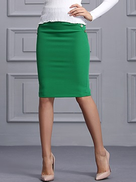 Buckle Rivet Patchwork Sheath Skirt