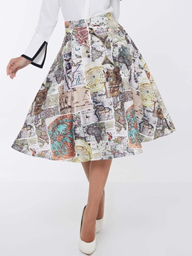 Geographic Printed Floral Pleated Skirt