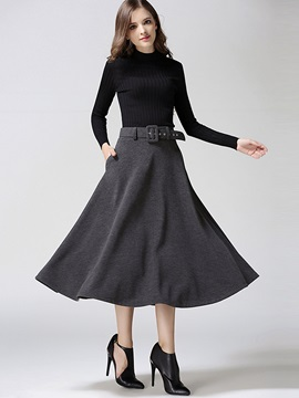 Solid Color Belt Pleated Skirt