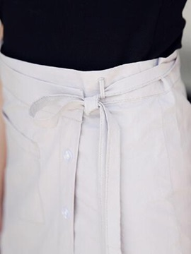 Solid Color Button Strap Placketing Skirt
