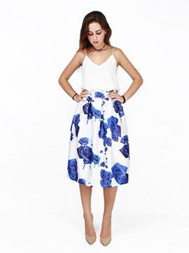 High-Waist Floral Polyester Pleated A-Line Skirt