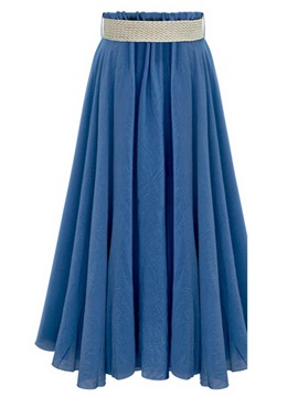 Solid Color Pleated Chiffon A-Line Skirt