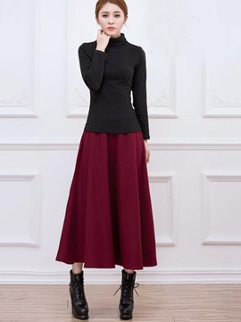 Vintage Pleated Solid Color Patchwork Maxi Skirt
