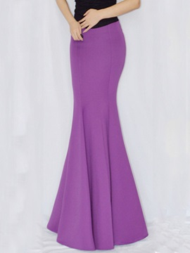 Solid Color Pleated Fishtail Long Skirt