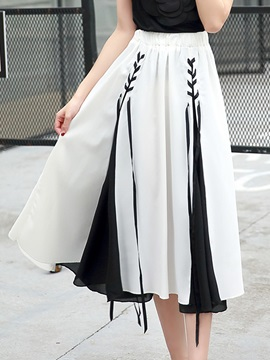 Black And White Strap Pleated Skirt