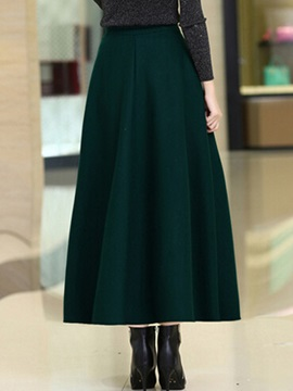 Retro Solid Color Pleated Maxi Skirt