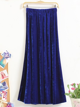 Velvet Pleated Solid Color  Skirt