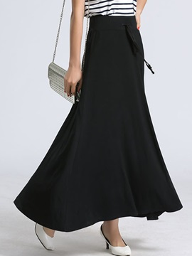 Black Strap Patchwork Pleated Maxi Skirt