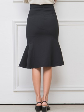 Black Falbala Patchwork Fishtail Skirt