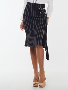 Striped Side-Split Women Skirt