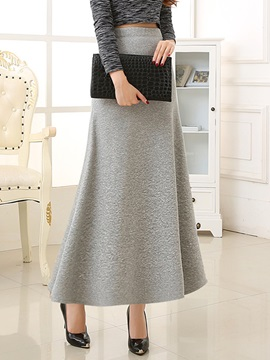 Solid Color Winter Long Skirt