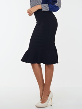 Black Falbala Sheath Skirt