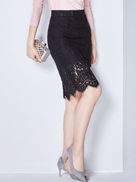 Solid Color Lace Hollow Skirt