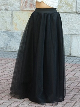 Solid Color Mesh Patchwork Pleated Maxi Skirt